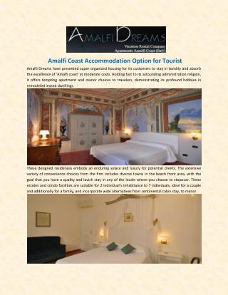 Amalfi Coast Accommodation Option for Tourist