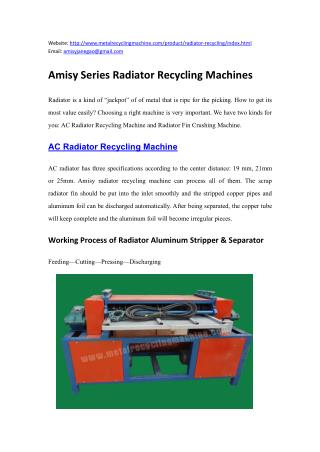 Amisy Radiator Recycling Machinery