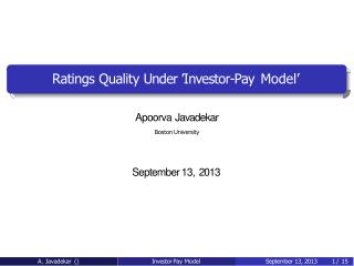 Apoorva Javadekar - Ratings Quality Under 'Investor-Pay Model