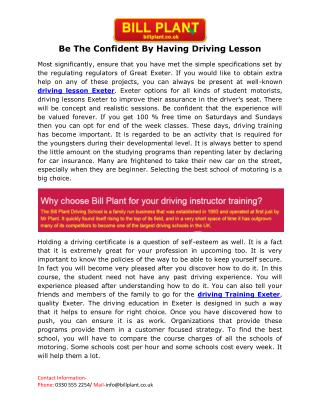 Driving lesson Exeter