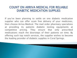 Diabetic Testing Strips From Arriva Medical