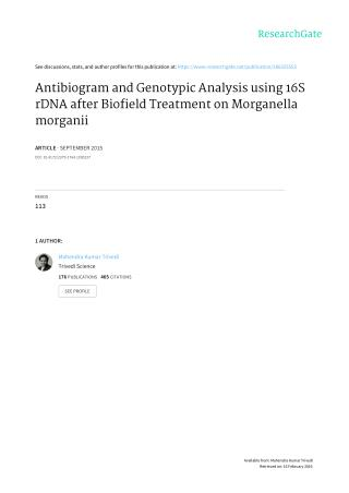 Genotypic Analysis of Morganella morganii using 16S rDNA