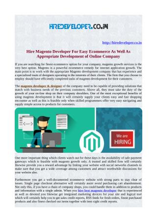 Hire Magento developer for easy ecommerce as well as appropriate development of online company