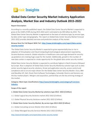 Global Data Center Security Market 2015 to 2022 Size,Share,Growth, Trends and Forecast,By Brisk Insights
