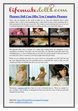 Pleasure Doll Can Offer You Complete Pleasure