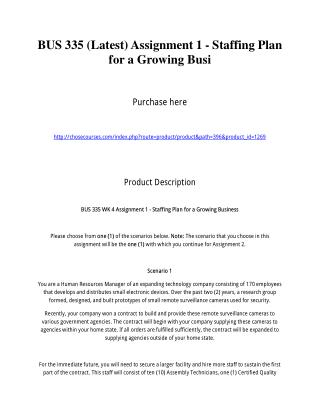 BUS 335 (Latest) Assignment 1 - Staffing Plan for a Growing Busi