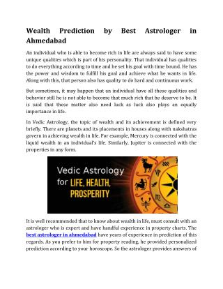 Wealth Prediction by Best Astrologer in Ahmedabad