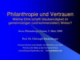 Philanthropie und Vertrauen Welche Ethik schafft Glaubw rdigkeit im gemeinn tzigen und kommerziellen Wirken