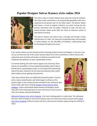 Popular Designer Salwar Kameez styles online 2016