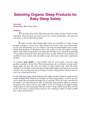 Selecting Organic Sleep Products for Baby Sleep Safety