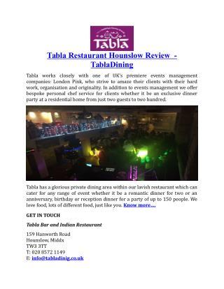 Tabla Restaurant Hounslow Review