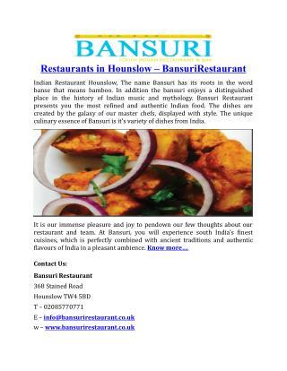 Restaurants in Hounslow BansuriRestaurant