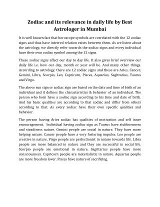 Zodiac and its relevance in daily life by Best Astrologer in Mumbai