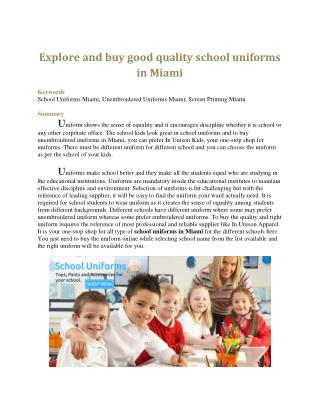 Explore and buy good quality school uniforms in Miami