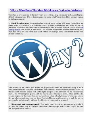 Why is WordPress The Most Well-known Option for Websites