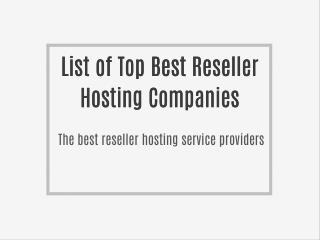 Top best reseller company
