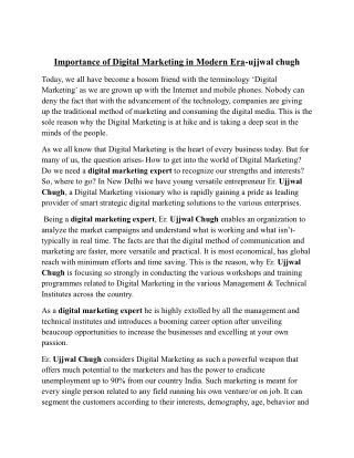 Importance of Digital Marketing in Modern Era-ujjwal chugh