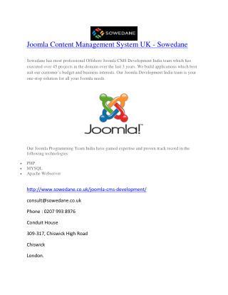 Joomla Content Management System UK - Sowedane