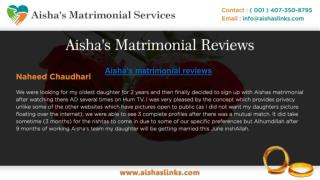 Aisha's matrimonial reviews is no 1 matromonial website in USA