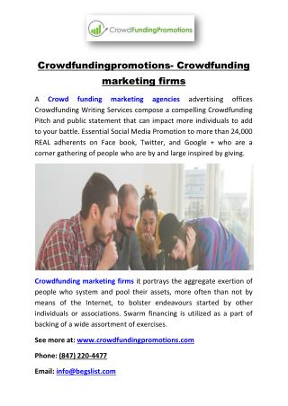 Crowdfundingpromotions- Crowdfunding marketing firms