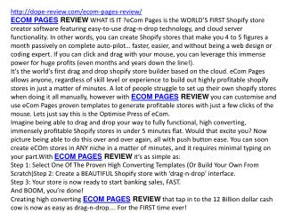 ECOM PAGES REVIEW