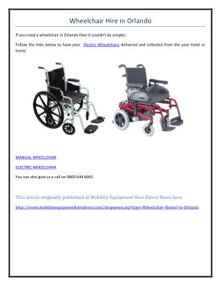 Wheelchair Hire in Orlando