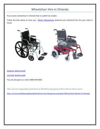 Wheelchair Hire in Orlando