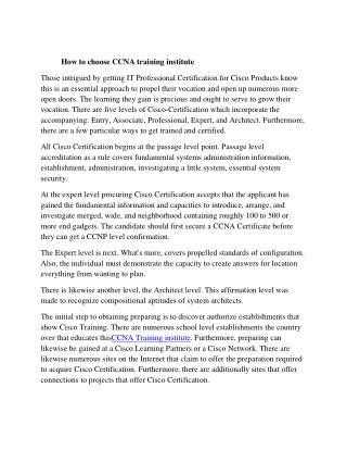 ccna training institute