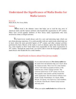 Understand the Significance of Mafia Books for Mafia Lovers