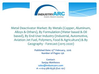 APAC of metal deactivator market is projected to grow at the fastest pace during the observation period 2015-2020.