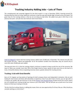 Trucking Industry Adding Jobs – Lots of Them