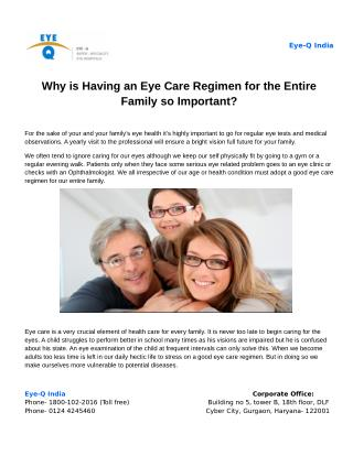 Why is Having an Eye Care Regimen for the Entire Family so Important?