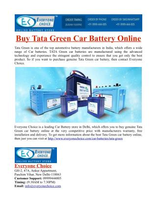 Buy Tata Green Car Battery Online