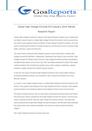 Global High Voltage Formed Foil Industry 2016 Market Research Report