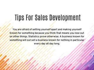 Tips for Sales Development by Mark Moncher