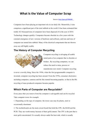 What Is the Value of Computer Scrap