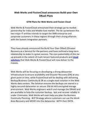 Web Werks and FissionCloud announces Build your Own DRaaS Plans
