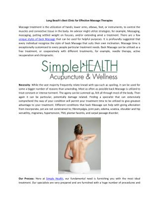 Long Beach's Best Clinic for Effective Massage Therapies