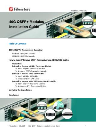 40G QSFP  Modules Installation Guide