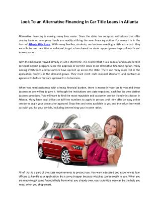 Look To an Alternative Financing In Car Title Loans in Atlanta
