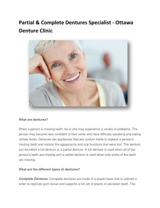 Partial & Complete Dentures Specialist - Ottawa Denture Clinic