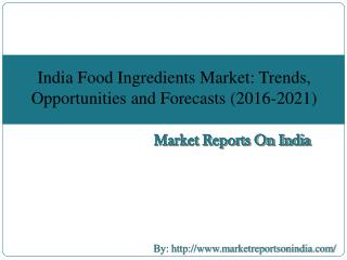 India Food Ingredients Market: Trends, Opportunities and Forecasts (2016-2021)
