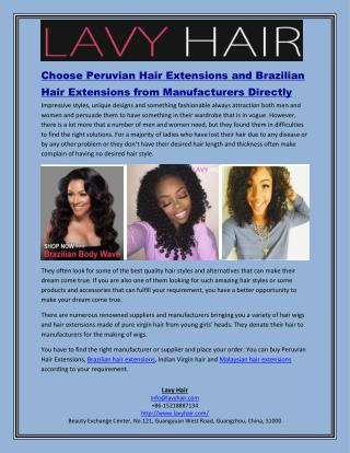 Choose Peruvian Hair Extensions and Brazilian Hair Extensions from Manufacturers Directly