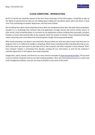 Cloud Computing - Introduction