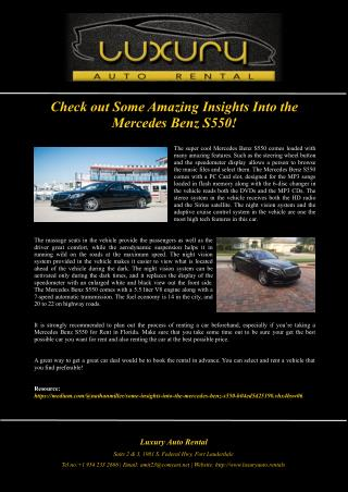 Check out Some Amazing Insights Into the Mercedes Benz S550