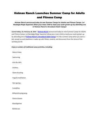 Holman ranch launches summer camp for adults and fitness camp
