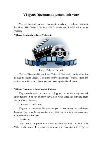 Vidgeos Discount: a smart software