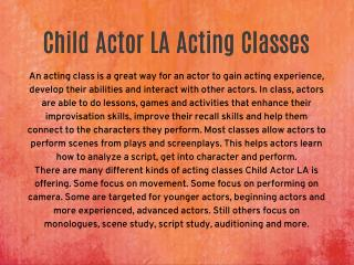 Child Actor La Acting Class