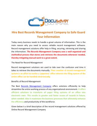 Hire Best Records Management Company to Safe Guard Your Information