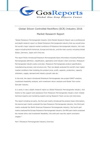 Global Silicon Controlled Rectifiers (SCR) Industry 2016 Market Research Report